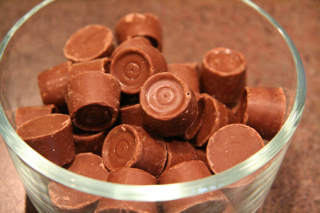 Chocolate covered caramel candies