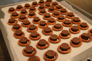 Pretzel turtles recipe before they are placed in the oven